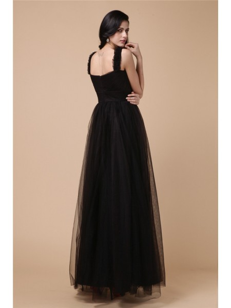 A-Line/Princess Straps Sleeveless Beading Applique Net Ankle-Length Dress