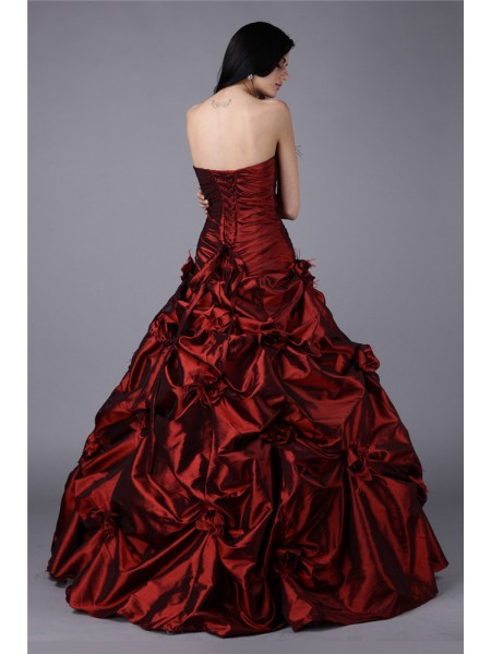 Ball Gown Strapless Sleeveless Hand-Made Flower Taffeta Long Dress
