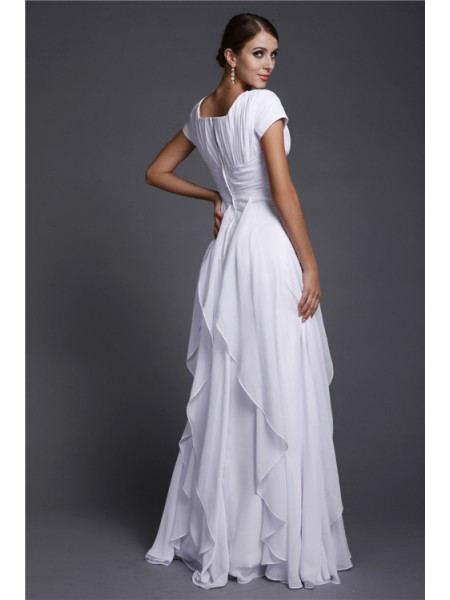 A-Line/Princess Square Short Sleeves Ruffles Chiffon Long Dress