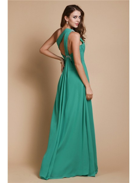 A-Line/Princess One-Shoulder Sleeveless Beading Chiffon Long Dress