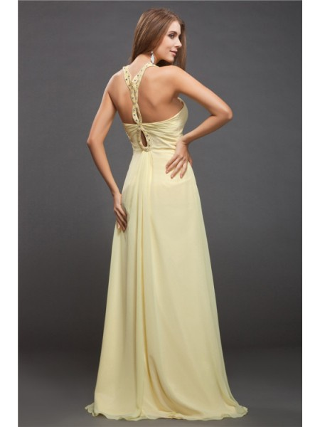 Sheath/Column Halter Sleeveless Beading Chiffon Long Dress