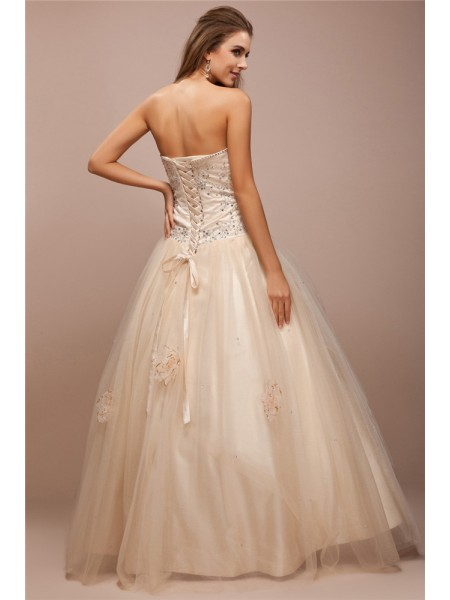 Ball Gown Strapless Sleeveless Beading Lace Net Satin Long Dress