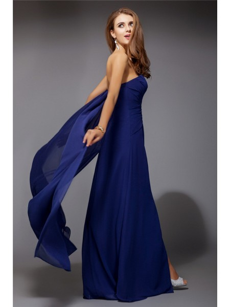 Sheath/Column Sweetheart Sleeveless Ruffles Chiffon Long Dress