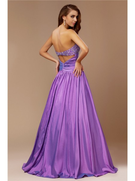 A-Line/Princess Strapless Sleeveless Beading Taffeta Long Dress