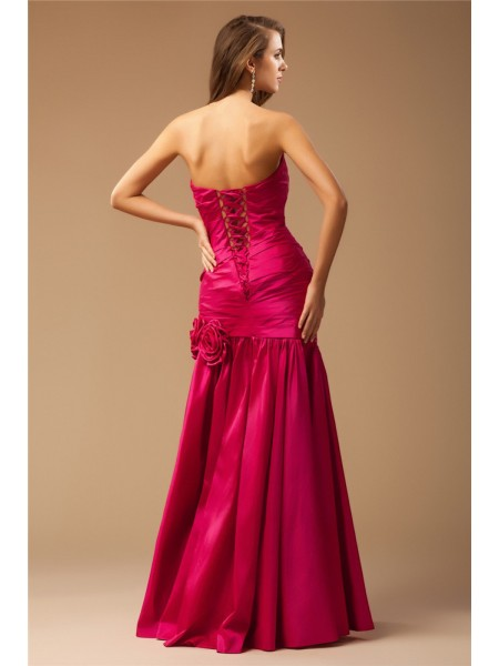 Trumpet/Mermaid Strapless Sleeveless Ruffles Taffeta Long Dress