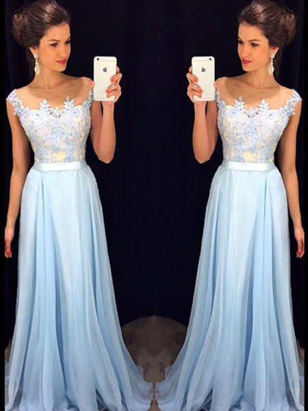 A-Line/Princess Sleeveless Sheer Neck Chiffon Applique Long Dresses