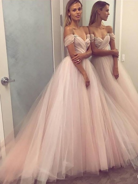 A-Line/Princess Off-the-Shoulder Sleeveless Beading Long Tulle Dress