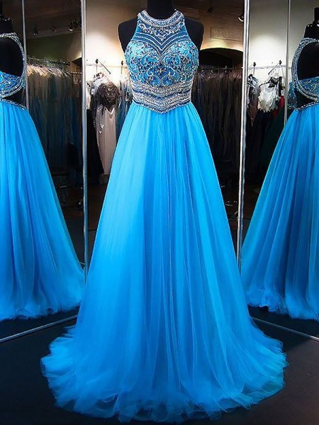 A-Line/Princess Jewel Sleeveless Beading Long Tulle Dress