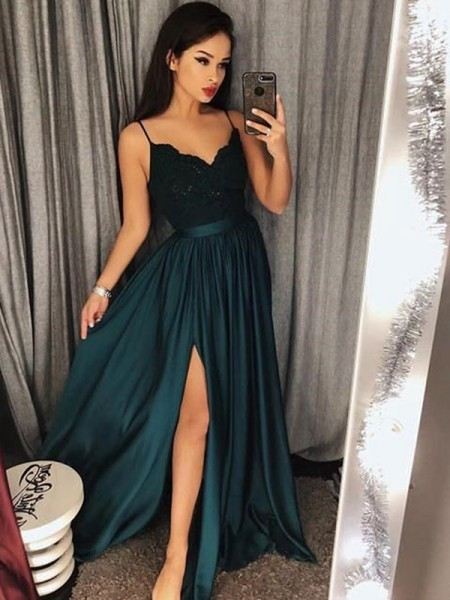 A-Line/Princess Spaghetti Straps Sleeveless Long Silk like Satin Dress