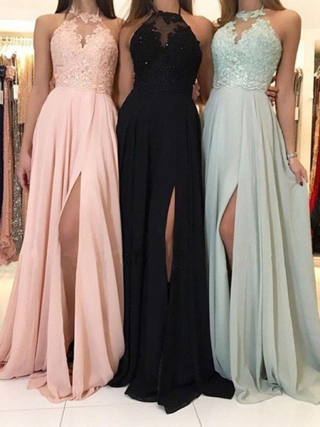 A-Line/Princess Halter Sleeveless Applique Long Chiffon Dress