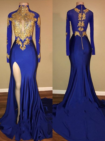 Trumpet/Mermaid High Neck Long Sleeves Applique Long Spandex Dress