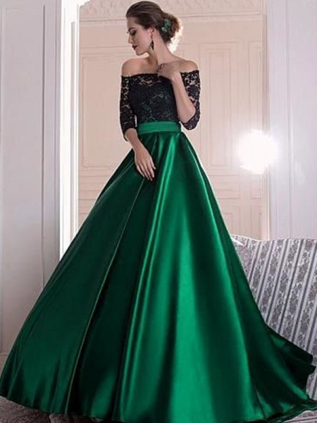 A-Line/Princess Off-the-Shoulder 3/4 Sleeves Ruffles Long Satin Dress