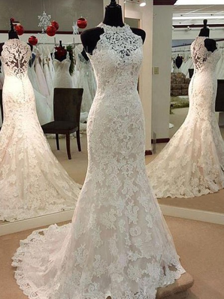 Sheath/Column Sleeveless Applique Scoop Lace Long Wedding Dress