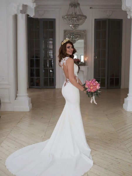 Trumpet/Mermaid Sleeveless Applique Scoop Lace Long Wedding Dress