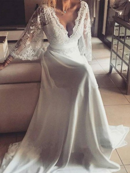 A-Line/Princess Long Sleeves Sash/Ribbon/Belt V-neck Lace Court Train Wedding Dress