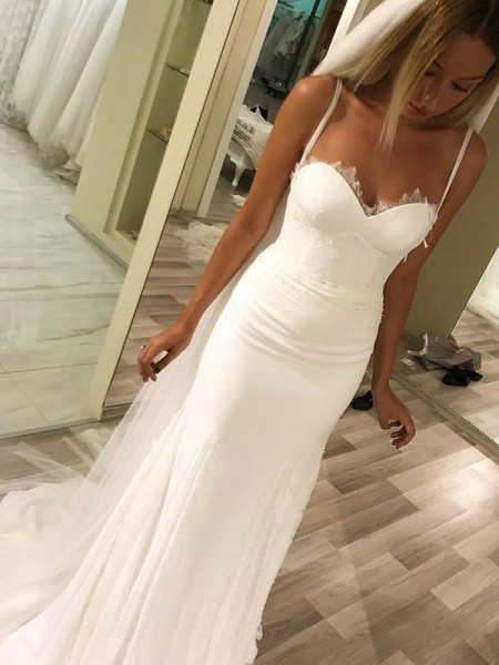 Sheath/Column Sleeveless Sweetheart Satin Long Wedding Dress