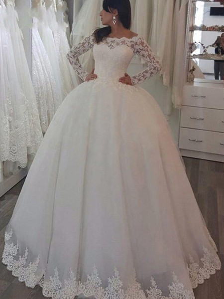 Ball Gown Long Sleeves Applique Off-the-Shoulder Lace Long Wedding Dress