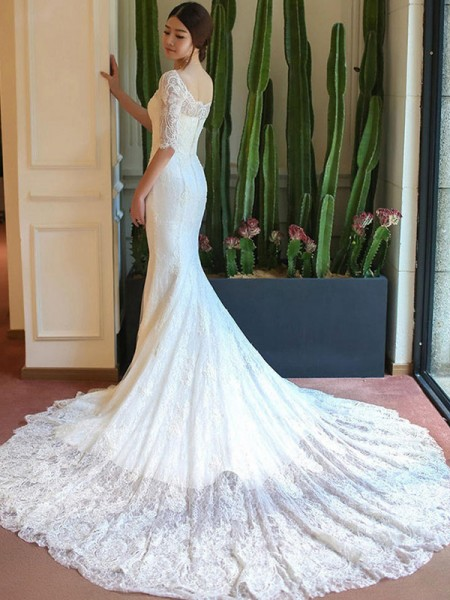 Trumpet/Mermaid 1/2 Sleeves Applique Square Lace Long Wedding Dress