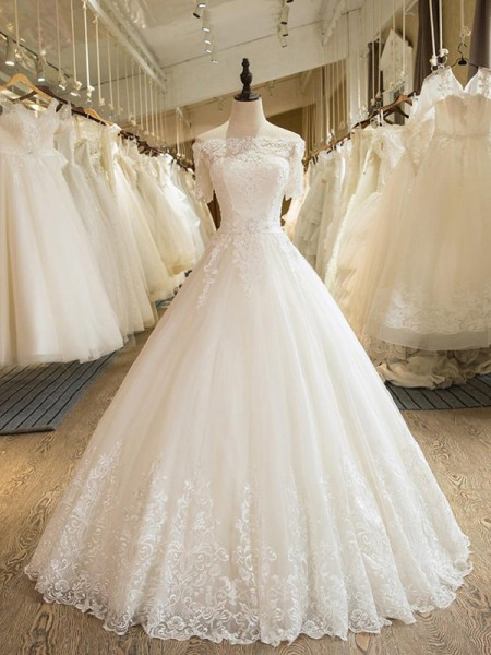 Ball Gown 1/2 Sleeves Applique Off-the-Shoulder Tulle Long Wedding Dress