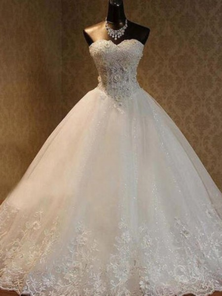 Ball Gown Sleeveless Beading Sweetheart Tulle Long Wedding Dress