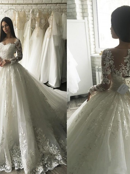Ball Gown Long Sleeves Applique Scoop Tulle Court Train Wedding Dress