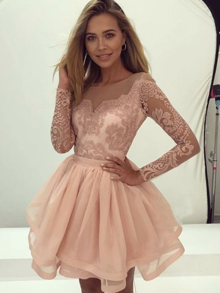 A-Line/Princess Scoop Long Sleeves Applique Organza Short Dresses