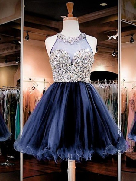 A-Line/Princess Bateau Sleeveless Beading Tulle Short Dresses