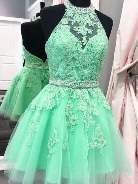 A-Line/Princess Halter Sleeveless Applique Tulle Short Dresses