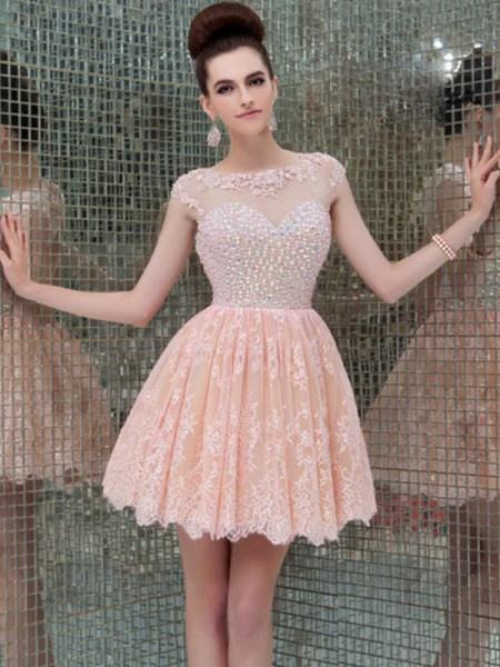 A-Line/Princess Scoop Sleeveless Beading Lace Short Dresses