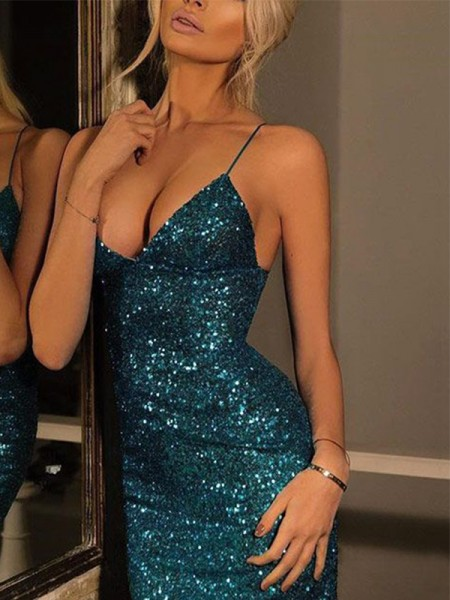 Sheath/Column Spaghetti Straps Sleeveless Sequin Sequins Short Dresses
