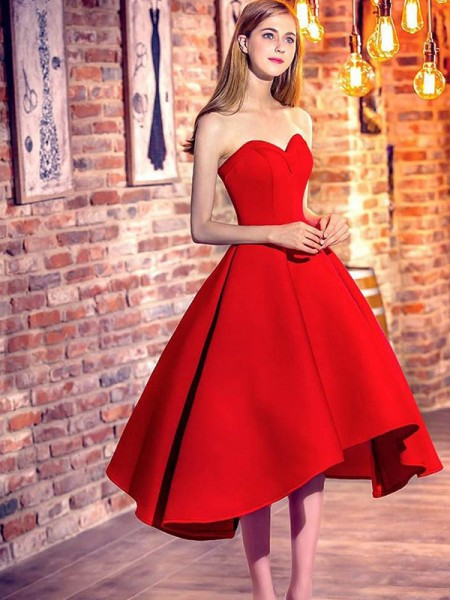 A-Line/Princess Sweetheart Sleeveless Ruffles Satin Short Dresses