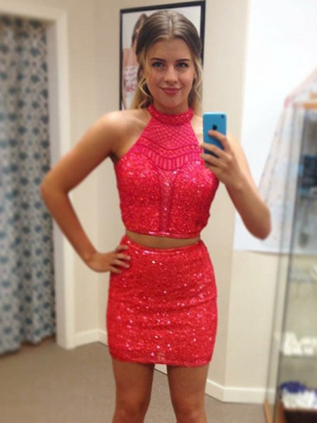 Sheath/Column Halter Sleeveless Beading Sequins Short Two Piece Dress