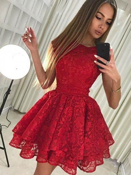 A-Line/Princess Scoop Sleeveless Lace Short Dresses