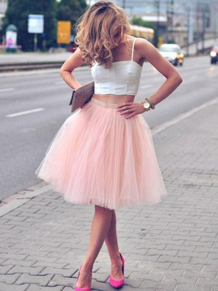 A-Line/Princess Spaghetti Straps Sleeveless Pleats Tulle Knee-Length Two Piece Dress