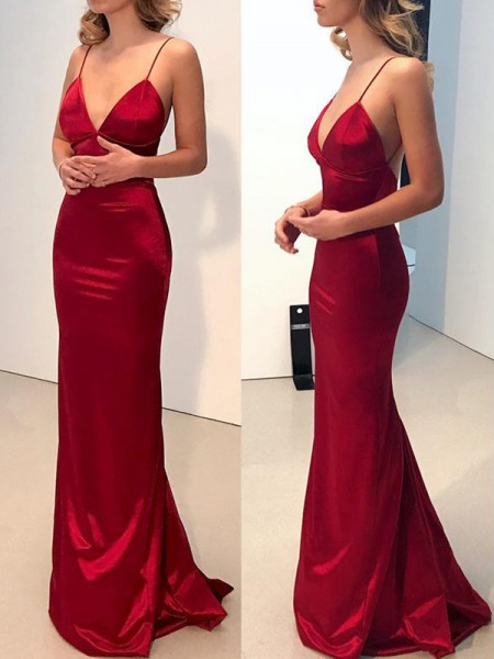 Sheath/Column Sweep/Brush Train Spaghetti Straps Sleeveless Silk Like Satin Dresses