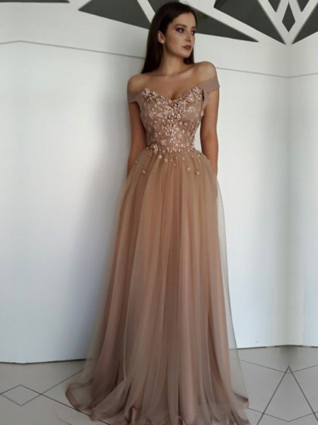 A-Line/Princess Applique Floor-Length Off-the-Shoulder Sleeveless Tulle Dresses