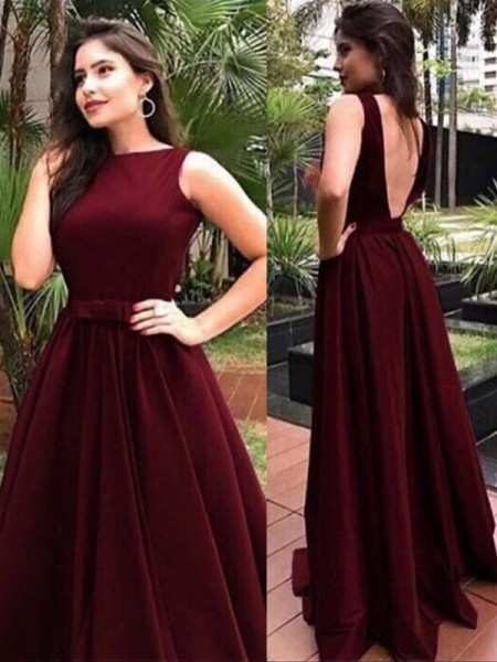 A-Line/Princess Sash/Ribbon/Belt Floor-Length Bateau Sleeveless Velvet Dresses