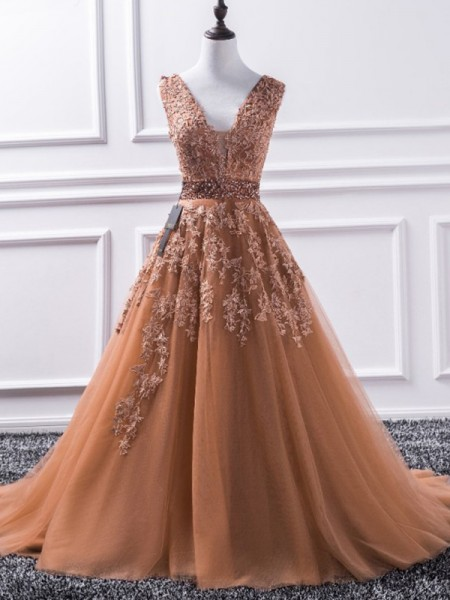 A-Line/Princess Applique Sweep/Brush Train V-neck Sleeveless Tulle Dresses