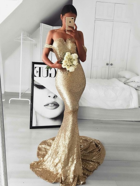 Trumpet/Mermaid Off-the-Shoulder Sleeveless Ruffles Sequins Long Dresses