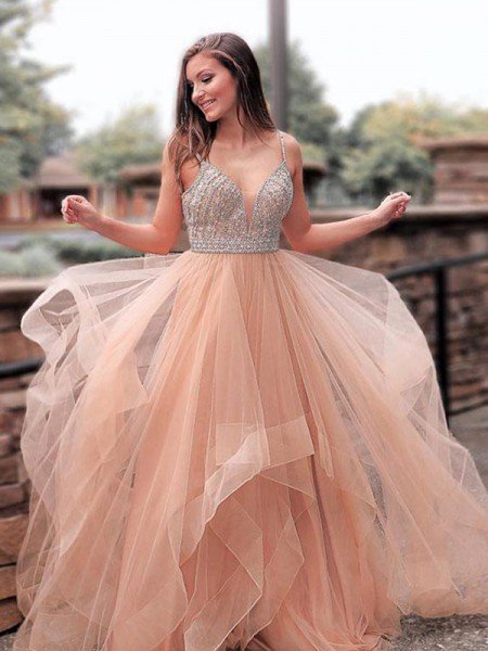 A-Line/Princess Straps Sleeveless Beading Tulle Long Dresses