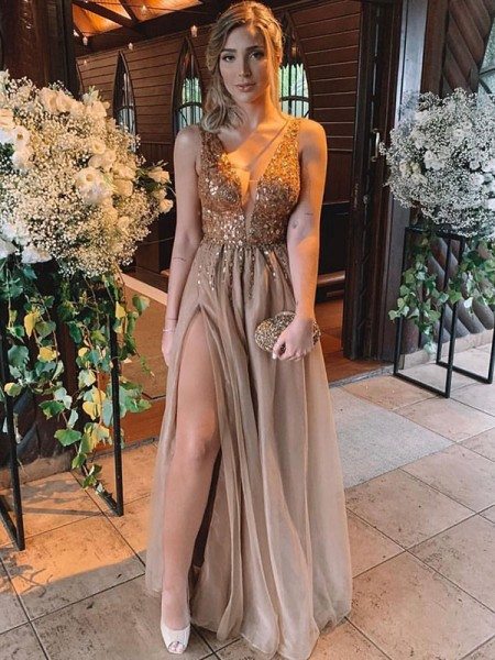 A-Line/Princess V-neck Sleeveless Rhinestone Tulle Long Dresses