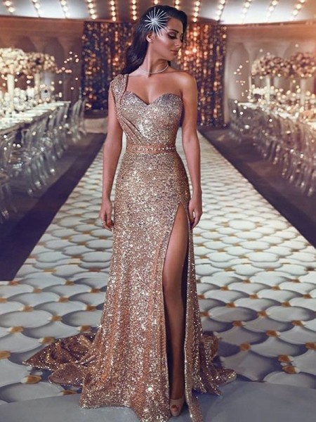 Sheath/Column One-Shoulder Sleeveless Beading Sequins Long Dresses