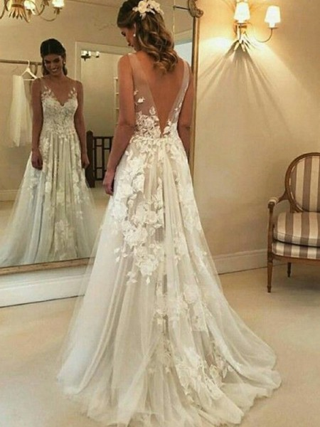 A-Line/Princess V-neck Sleeveless Applique Tulle Long Wedding Dresses