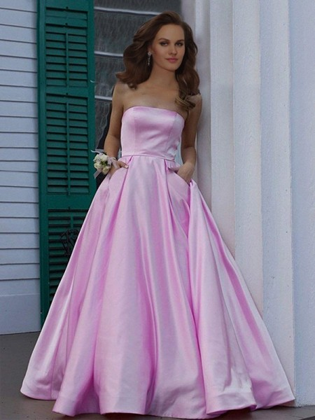 A-Line/Princess Strapless Sleeveless Ruffles Satin Long Dresses