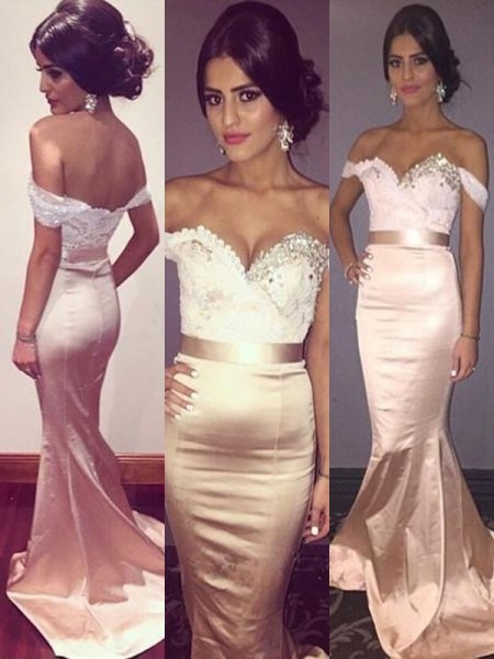 Trumpet/Mermaid Off-the-Shoulder Sleeveless Beading Silk Like Satin Long Dresses