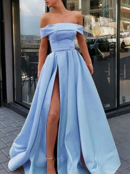A-Line/Princess Off-the-Shoulder Sleeveless Ruffles Satin Long Dresses