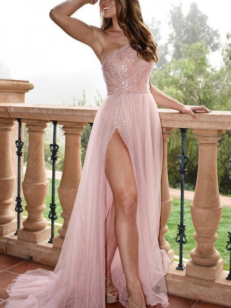 A-Line/Princess One-Shoulder Sleeveless Beading Tulle Long Dresses