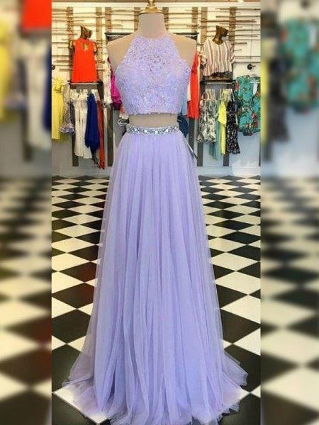 A-Line/Princess Halter Sleeveless Tulle Long Dresses