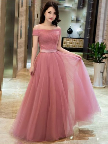 A-Line/Princess Off-the-Shoulder Sleeveless Ruffles Tulle Long Dresses