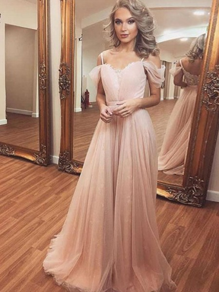 A-Line/Princess Off-the-Shoulder Sleeveless Ruched Tulle Long Dresses